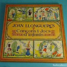 Discos de vinilo: JOAN LLONGUERES. CANÇONS I JOCS D'INFANTS. LIBRETO Y DOS LPS EN CAJA. Lote 238700385