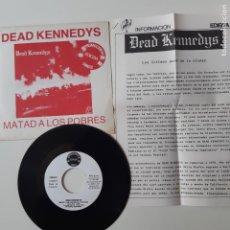 Disques de vinyle: DEAD KENNEDYS-MATAD A LOS POBRES-SPAIN PROMO SINGLE 1981 + 2 HOJAS PROMO RADIO-VINILO COMO NUEVO.. Lote 238820375
