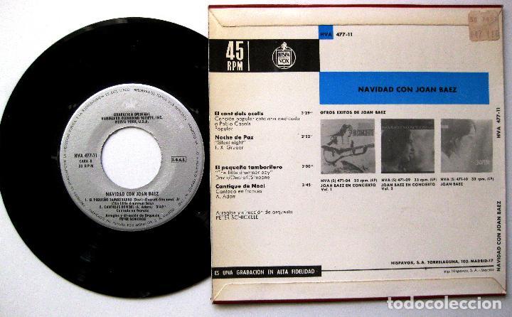 Discos de vinilo: Joan Baez - Navidad con Joan Baez - El Cant Dels Ocells +3 - EP Vanguard / Hispavox 1968 BPY - Foto 2 - 238821465
