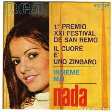 Discos de vinilo: NADA – IL CUORE È UNO ZINGARO / INSIEME MAI. Lote 239473155