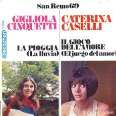 Discos de vinilo: GIGLIOLA CINQUETTI / CATERINA CASELLI – LA PIOGGIA / IL GIOCO DELL'AMORE. Lote 239481460