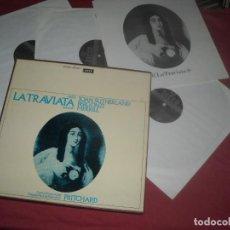 Discos de vinilo: VERDI LA TRAVIATA CAJA CON 3 LP Y LIBRETO DECCA SUTHERLAND,,BERGONZI,,MERRILL. Lote 26007879