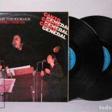Discos de vinilo: DOBLE DISCO LP DE VINILO - MIKIS THEODORAKIS / PABLO NERUDA - CARNABY - 1976. Lote 239617460
