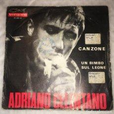 Disques de vinyle: SINGLE ADRIANO CELENTANO - CANZONE - UN BIMBO SUL LEONE - VERGARA 45.243A - PEDIDOS MINIMO 7€. Lote 239727105