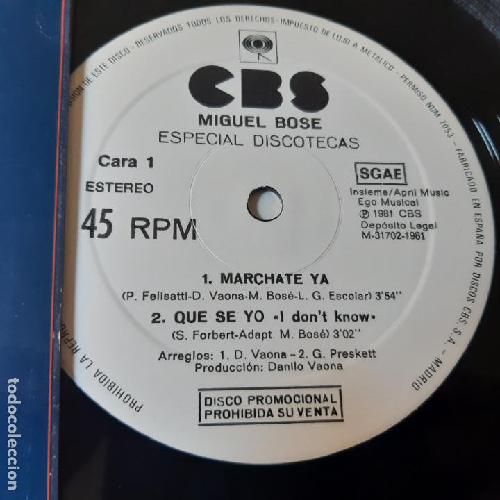 Discos de vinilo: MIGUEL BOSE - MARCHATE YA - MAXI SINGLE 1981- ESPECIAL DISCOTECAS- EXC. ESTADO. - Foto 2 - 239773965