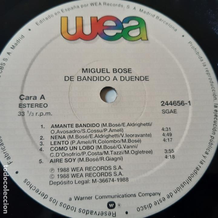 Discos de vinilo: MIGUEL BOSE - DE BANDIDO A DUENDE - LP 1988 + ENCARTE - VINILO EXC. ESTADO. - Foto 5 - 239775380
