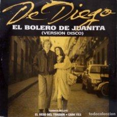 Discos de vinilo: DE DIEGO. EL BOLERO DE JUANITA ( VERSION DISCO ). MAXISINGLE PROMOCIONAL ESPAÑA 3 TEMAS. Lote 239814315