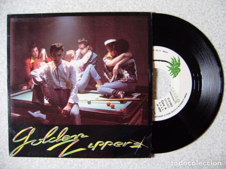 GOLDEN ZIPPERS...UNICO DISCO.QUEMANDO GASOLINA + 2...EX...ARAGON (Música - Discos de Vinilo - EPs - Grupos Españoles de los 70 y 80)