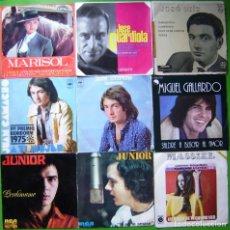 Disques de vinyle: LOTE 9 SINGLES (JUAN CAMACHO, MASSIEL, MARISOL, MIGUEL GALLARDO, JUNIOR, JOSE GUARDIOLA, JOSE LUIS). Lote 239886955