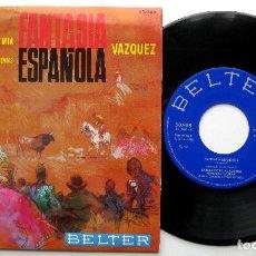 Discos de vinilo: BANDA DE LA ACADEMIA GENERAL MILITAR - FANTASÍA ESPAÑOLA (VÁZQUEZ) - EP BELTER 1965 BPY COMO NUEVO. Lote 240072335