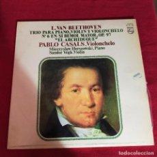 Discos de vinilo: BEETHOVEN TRIO PARA PIANO, VIOLIN Y VIOLONCHELO - PABLO CASALS - LP. Lote 240102905