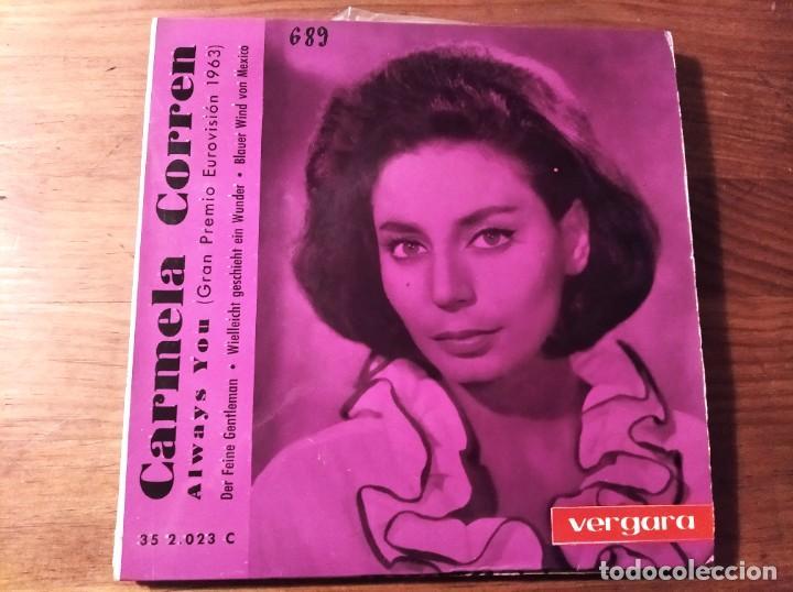 CARMELA CORREN - ALWAYS YOU + 3 *** RARO EP VERGARA ESPAÑOL EUROVISIÓN 1963 (Música - Discos de Vinilo - EPs - Festival de Eurovisión)