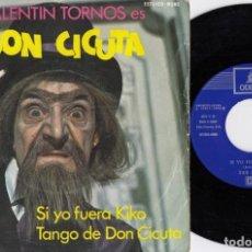 Discos de vinilo: VALENTIN TORNOS - DON CICUTA - SINGLE VINILO DE LA SERIE DE TVE 1 2 3 RESPONDA OTRA VEZ. Lote 240189120