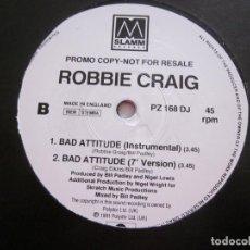 Discos de vinilo: ROBBIE CRAIG - BAD ATTITUDE (VINYL, PROMO). Lote 240379555