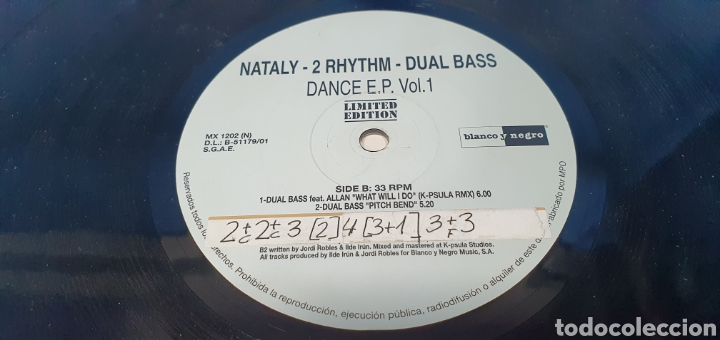Discos de vinilo: DISCO DE VINILO - NATALY - 2 RHYTHIM - DUAL BASS - Foto 5 - 240600655