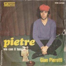 Discos de vinilo: 45 GIRI GIAN PIERETTI PIETRE LABEL VEDETTE SANREMO 1967 FESTIVAL DI SANREMO. Lote 240643450