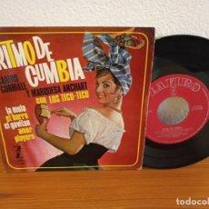 Discos de vinilo: EP RITMO DE CUMBIA - CARLOS CORRIALES Y MARQUESA ANCHART - AMOR PLAYERO + 3 - ZAFIRO (1964). Lote 240712690