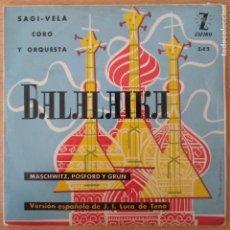 Discos de vinilo: BALALAIKA - SAGI-VELA - CORO Y ORQUESTA - VERSIÓN ESPAÑOLA J I LICA DE TENA. Lote 240842835