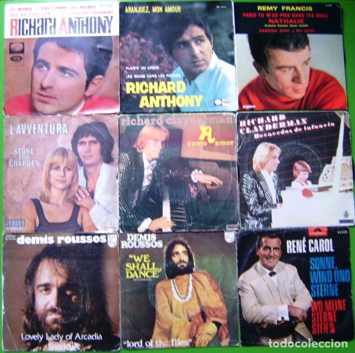 LOTE 9 SINGLES (RICHARD ANTHONY, RICHARD CLAYDERMAN, STONE ET CHARDEN, DEMIS ROUSSOS, REMI FRANCIS.. (Música - Discos - Singles Vinilo - Canción Francesa e Italiana)