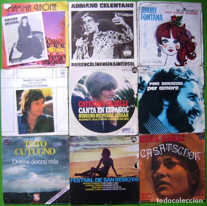 LOTE 9 SINGLES ITALIANOS (BINO, ADRIANO CELENTANO, SANDRO GIACOBBE, TOTO CUTUGNO, CATERINA CASELLII. (Música - Discos - Singles Vinilo - Canción Francesa e Italiana)