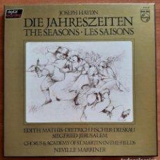 Discos de vinilo: JOSEP HAYDIN - DIE JAHRESZEITEN THE SEASONS - LES SAISONS / TRES DISCOS VINILO. Lote 241213900