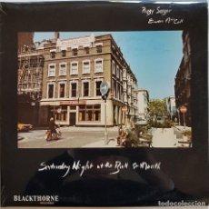 Discos de vinilo: PEGGY SEEGER Y EWAN MACCOLL, SATURDAY NIGHT AT THE BULL AND MOUTH. FIRMADO POR MACCOLL. LONDON, 1977. Lote 241223305