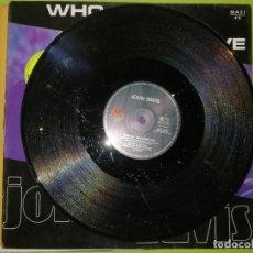 Discos de vinilo: LOTE 2 DISCOS. JOHN DAVIS - WHO DO YOU LOVE Y RAP TO THE WORLD REMIX. Lote 241320075