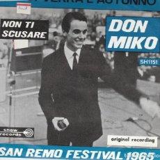 Discos de vinilo: 45 GIRI DON MIKO E' POI VERRA' L'AUTUNNO /NON TI SCUSARE SANREMO 65 SHOW RECORDS BELGIUM VGVG+. Lote 241386185