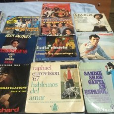 Discos de vinilo: EUROVISION LOTE 10 SINGLES N1 . AÑOS 67/79 DESCRIPCION. Lote 241427825