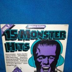 Discos de vinilo: LP 15 MONSTER HITS. Lote 241444725