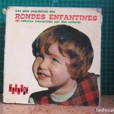 Discos de vinilo: LES PLUS POPULAIRES DES RONDES ENFANTINES. 40 REFRAINS INTERPRETES PAR DES ENFANTS - PALOBAL. Lote 241474190