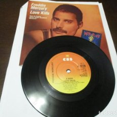 Discos de vinilo: FREDDIE MERCURY - SINGLE - LOVE KILLS - EDICION UK A 4735 - QUEEN. Lote 241504255