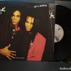 Discos de vinilo: MILLI VANILLI – ALL OR NOTHING (THE FIRST ALBUM) LP SPAIN 1988 CON ENCARTE PEPETO. Lote 241516235