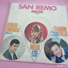 Discos de vinilo: SERGIO ENDRIGO / MILVA / CLAUDIO VILLA - SAN REMO (EP VERGARA 1966 ESPAÑA). Lote 241535595