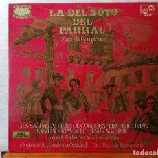 Disques de vinyle: DISCO LP, LA DEL SOTO DEL PARRAL, ZARZUELA COMPLETA, EDITA ZAFIRO, SERIE ETIQUETA DORADA. Lote 241974395
