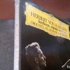 Discos de vinilo: CAJA-ÁLBUM-HERBERT VON KARAJAN-BEETHOVEN-SINFONIAS 1-2-3-4-6-7-8-9-ORQUESTA FILARMONICA DE BERLIN. Lote 242041685