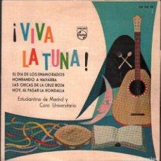 Discos de vinilo: VIVA LA TUNA - ESTUDIANTINA DE MADRID Y CORO UNIVERSITARIO / EP PHILIPS DE 1960 RF-4843. Lote 242138765