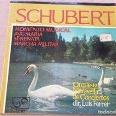Discos de vinilo: SCHUBERT - MOMENTO MUSICAL / AVE MARIA / SERENATA / MARCHA MILITAR. ZAFIRO 1963. Lote 242476820