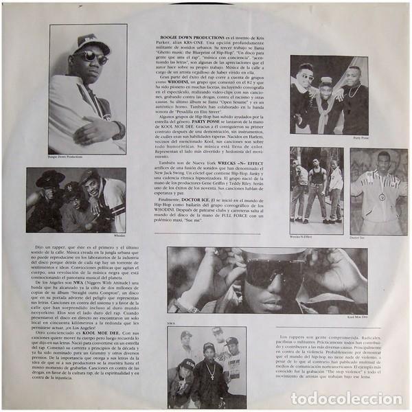 """Discos de vinilo: DOBLE LP """"RAP IN"""" - VARIOUS - Orig. analógico Spain 1989 - HIP-HOP - Foto 3 - 242924480"""