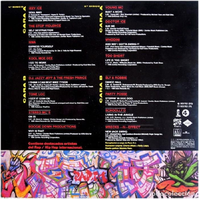 """Discos de vinilo: DOBLE LP """"RAP IN"""" - VARIOUS - Orig. analógico Spain 1989 - HIP-HOP - Foto 6 - 242924480"""