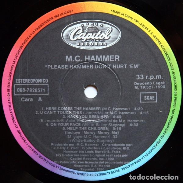 "Discos de vinilo: LP MC HAMMER ""PLEASE HAMMER DONT HURT EM"" -Orig. analógico Spain 1990 - Foto 4 - 242925185"