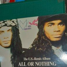 Discos de vinilo: MAXI MILLI VANILLI ALL OR NOTHING 1989 ARIOLA DISCOS COLISEVM. Lote 242972615
