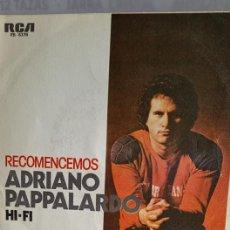 """Discos de vinilo: SINGLE DE ADRIAN PAPALARDO """" RECOMENCEMOS """" / EDITADO POR RBA RECORDS EN 1979.. Lote 235194825"""