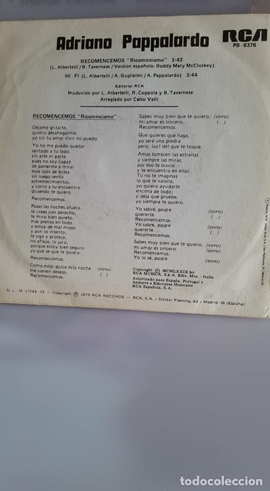 """Discos de vinilo: SINGLE DE ADRIAN PAPALARDO / """" RECOMENCEMOS """" / EDITADO POR RBA RECORDS / EN 1979 - Foto 2 - 235194825"""