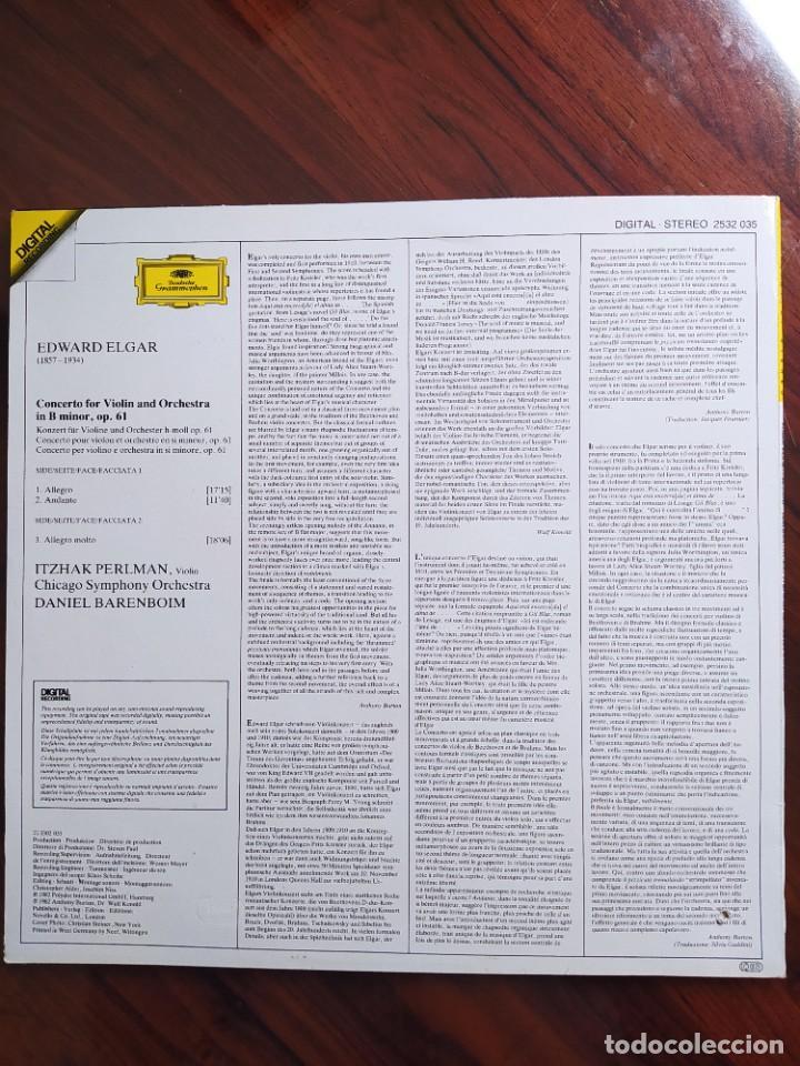 Discos de vinilo: Elgar, Itzhak Perlman, Chicago Symphony Orchestra, Daniel Barenboim – Violin Concerto •Violinkonzert - Foto 2 - 242983500