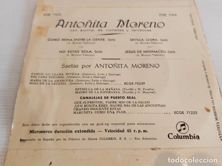 Discos de vinilo: ANTOÑITA MORENO / SAETAS / COMO REINA ENTRE LA GENTE / EP - COLUMBIA-1960 / MBC. ***/*** - Foto 2 - 242994395