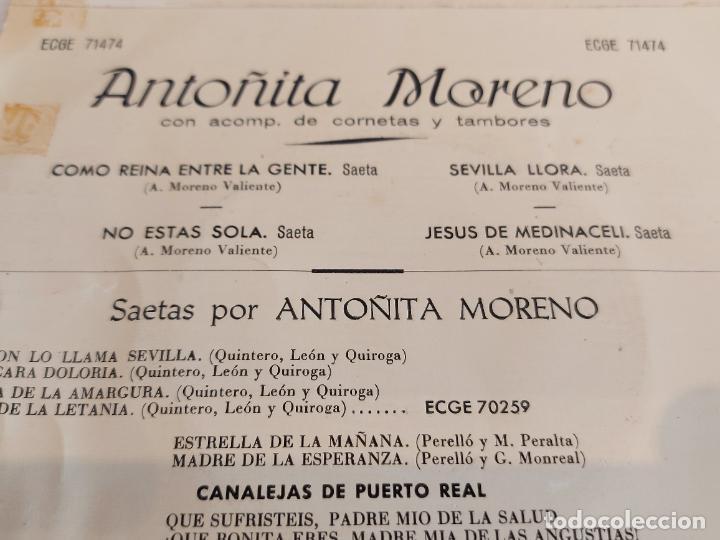 Discos de vinilo: ANTOÑITA MORENO / SAETAS / COMO REINA ENTRE LA GENTE / EP - COLUMBIA-1960 / MBC. ***/*** - Foto 3 - 242994395