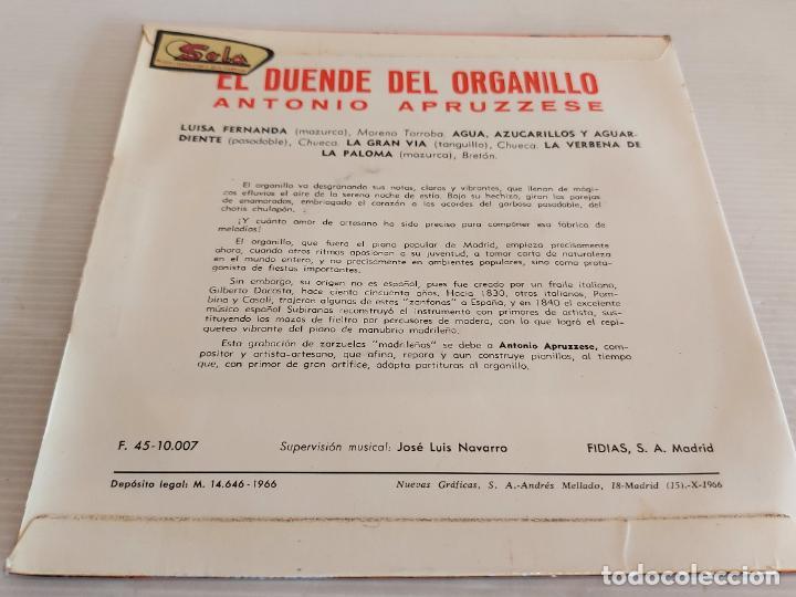 Discos de vinilo: ANTONIO APRUZZESE / EL DUENDE DEL ORGANILLO / EP - FIDIAS-1966 / MBC. ***/*** - Foto 2 - 242995405