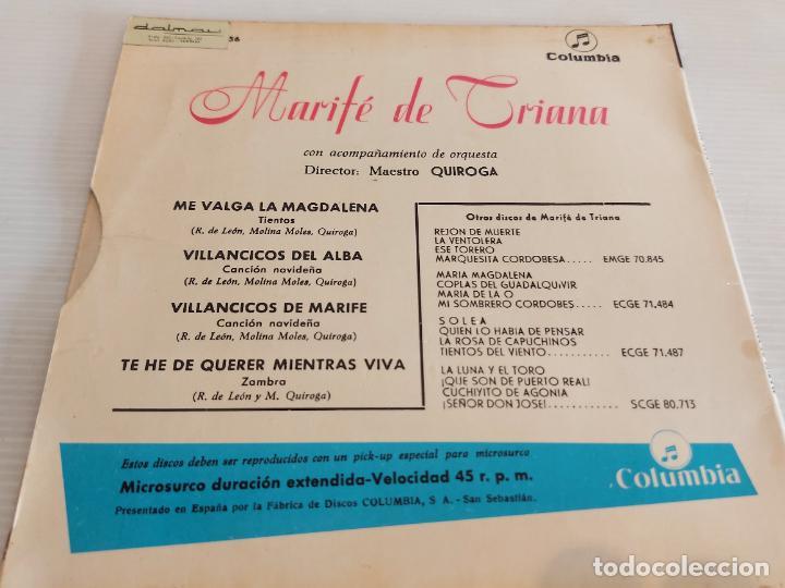 Discos de vinilo: MARIFÉ DE TRIANA / ME VALGA LA MAGDALENA / EP - COLUMBIA-1960 / MBC. ***/*** - Foto 2 - 242995750