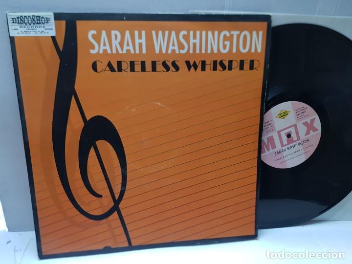MAXI SINGLE-SARAH WASHINGTON-CARELESS WHISPER- EN FUNDA ORIGINAL 1993 (Música - Discos de Vinilo - EPs - Techno, Trance y House)